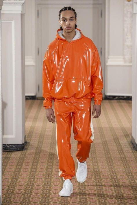 Orange glossy vinyl fabric
