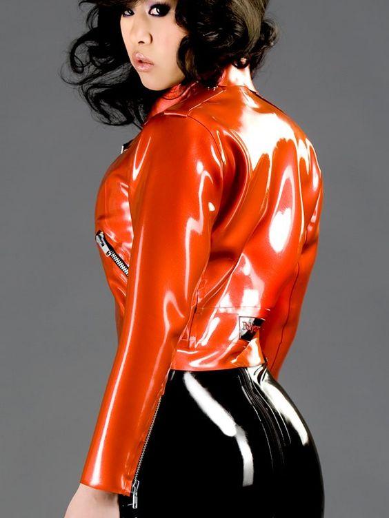Image Of Orange Latex Jacket