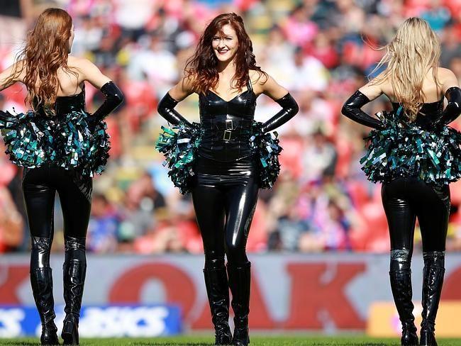 Stretch vinyl cheerleader outfit