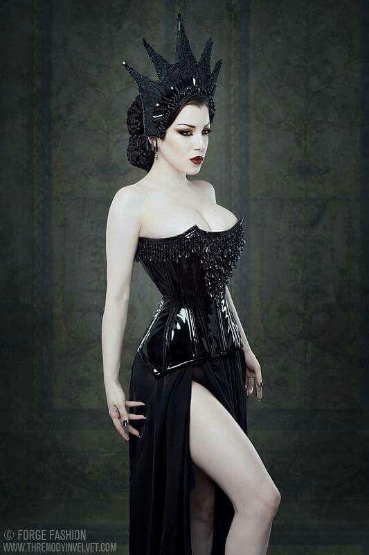 Patent vinyl black corset
