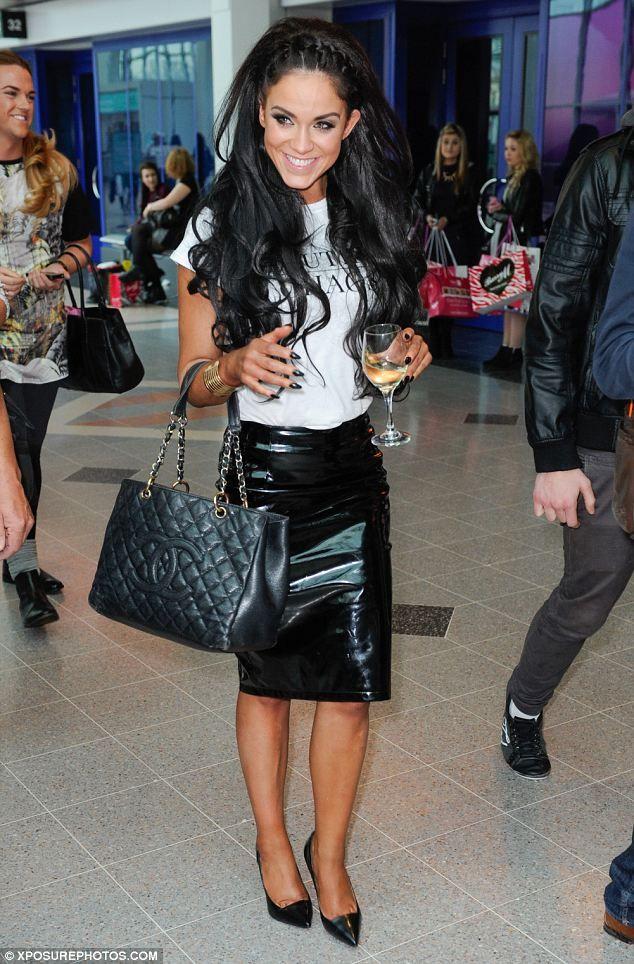 Vicky Pattison black patent vinyl skirt