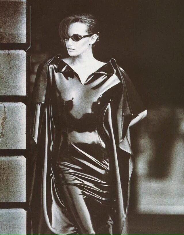 Black patent vinyl dress