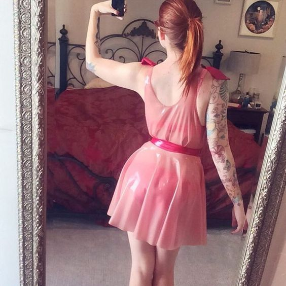 Image Of Transparent Pink Latex Dress