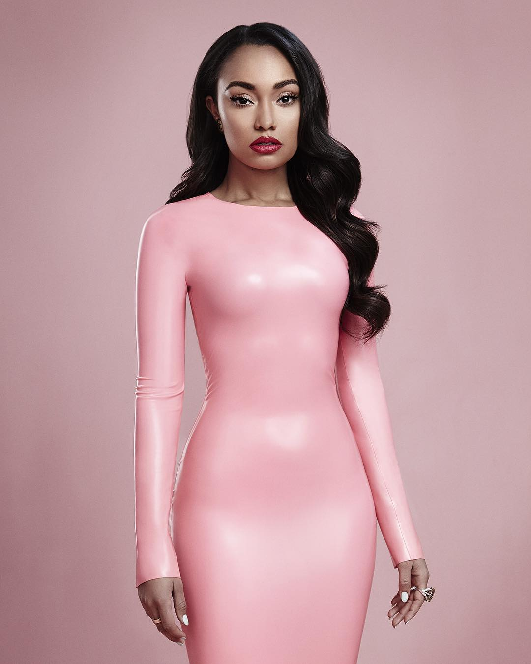 Pink latex fitted dress