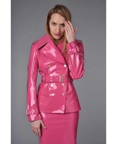 Pink patent vinyl skirt