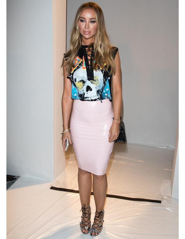 Pink stretch vinyl skirt