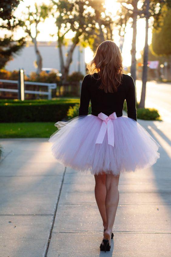 Short pink tulle tutu