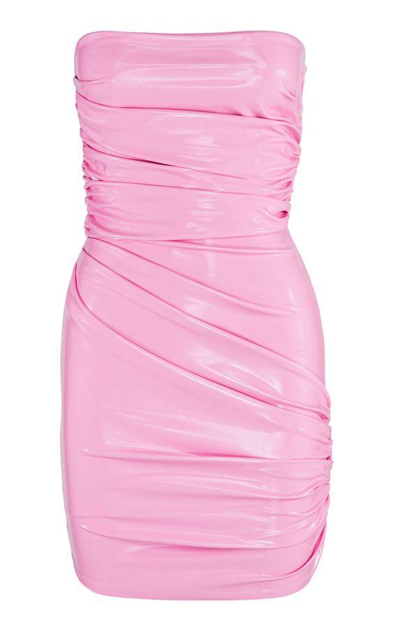 Pink vinyl wrap dress