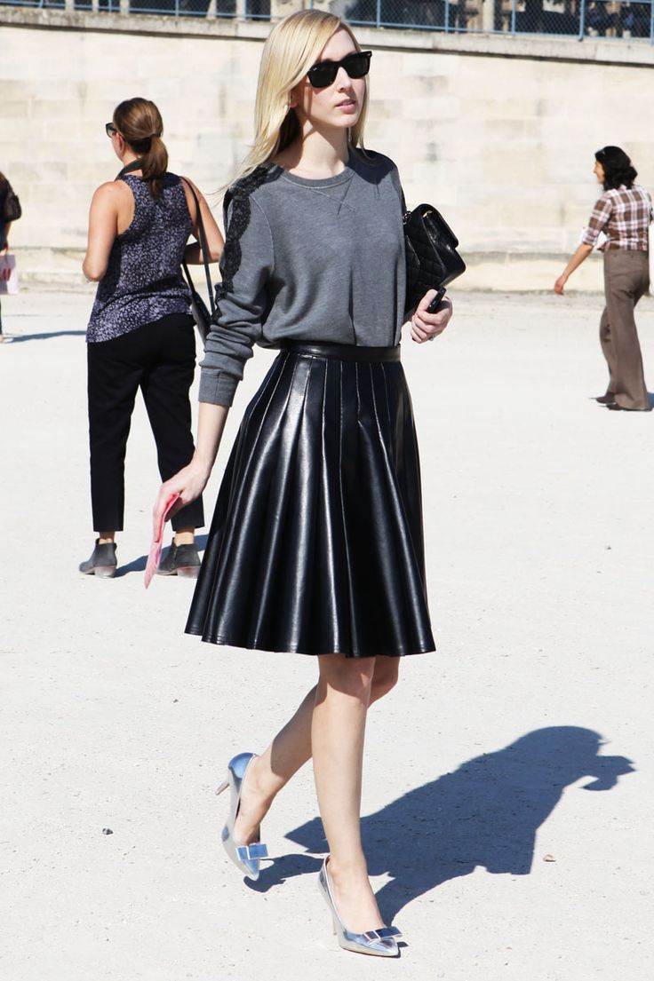 Pleated faux leather skirt.