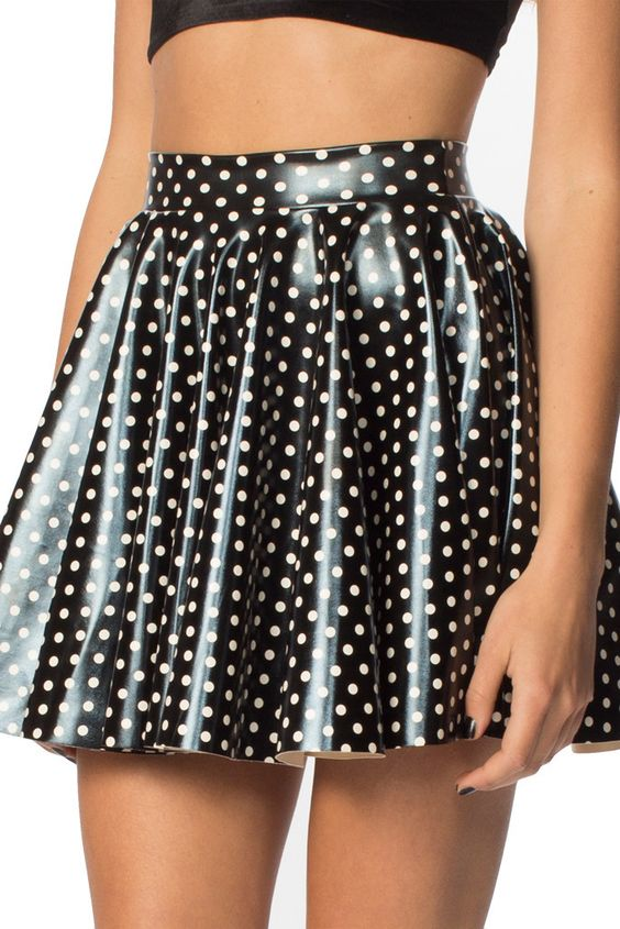 Black and while polka dot PVC skirt