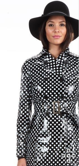 Black and while polka dot PVC trench