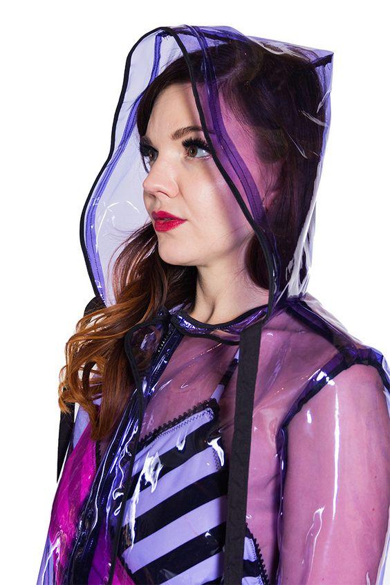 Purple clear vinyl raincoat