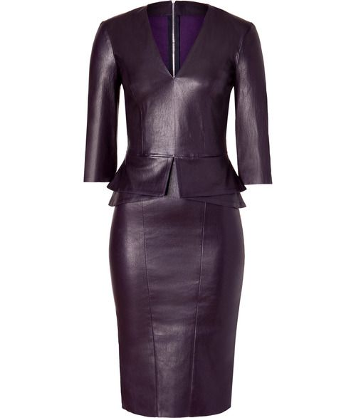 Purple faux leather peplum dress