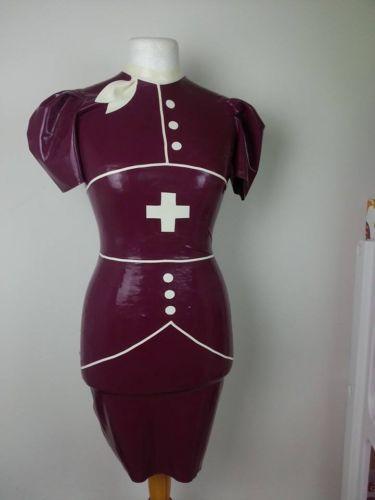 Purple latex nurse costume