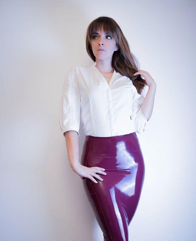 Purple latex skirt