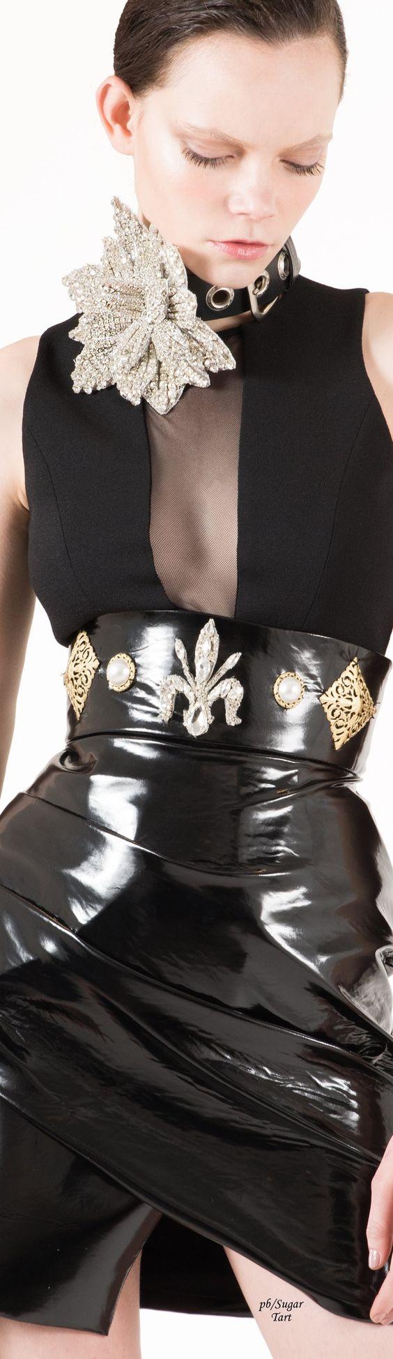 High-waisted PVC skirt