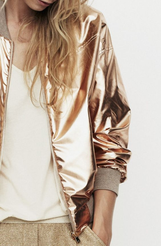 Metallic gold bomber jacket