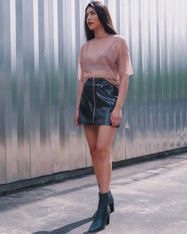 Black PVC mini skirt