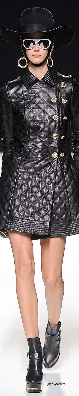Quilted faux leather coat dress