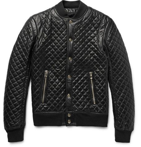 Quilted faux leather bomber jacket