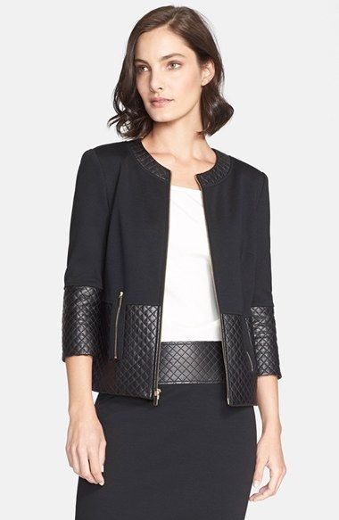 Black jacket with quilted faux leather trim