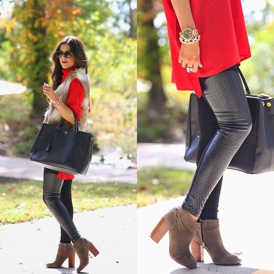 Laser quilted faux leather pants