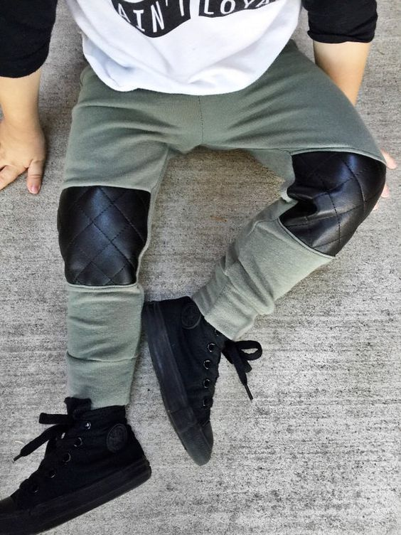 Sweatpants with quilted veggie leather knee patches