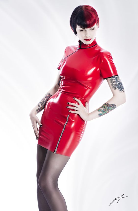 Red latex cheongsam style dress
