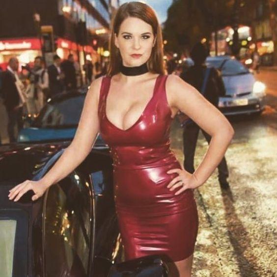Red latex mini dress