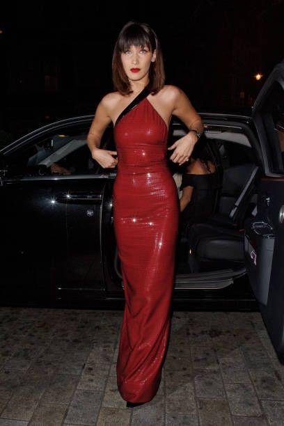 Red latex maxi dress