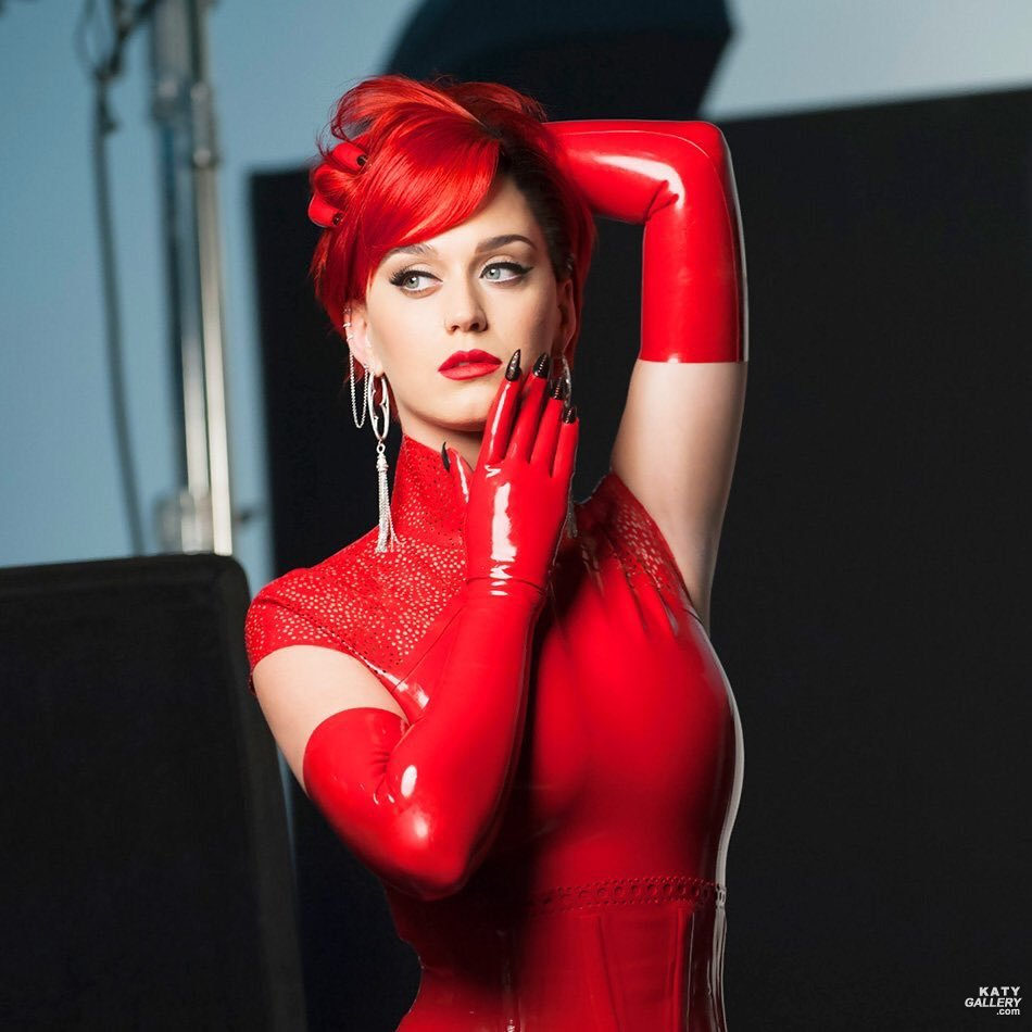Red latex dress with gloves