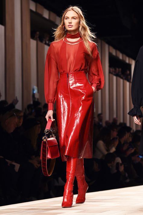 Red patent vinyl for skirts