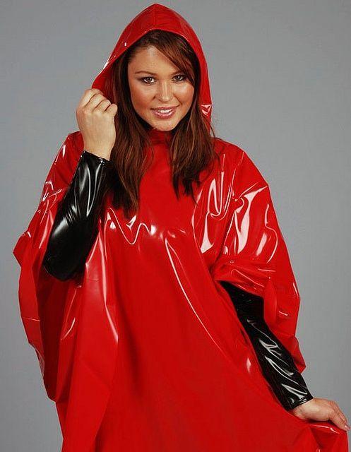 Red patent vinyl for rainwear