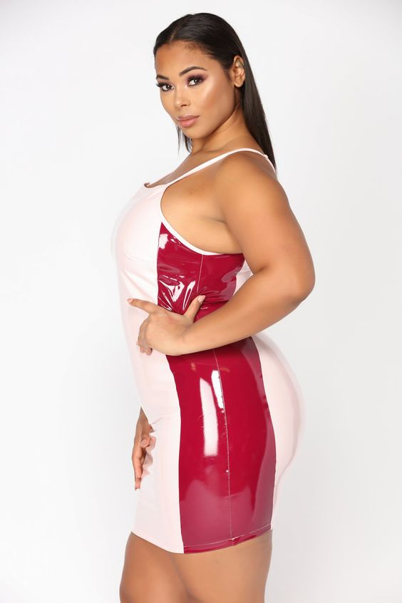 Pink and red color block PVC dress