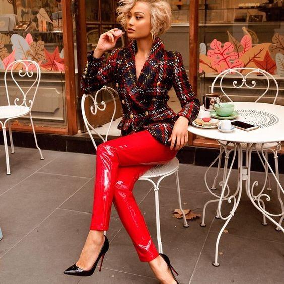 Red PVC slim fit pants