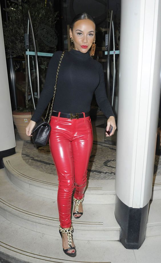 Image Of Red Pvc Pants