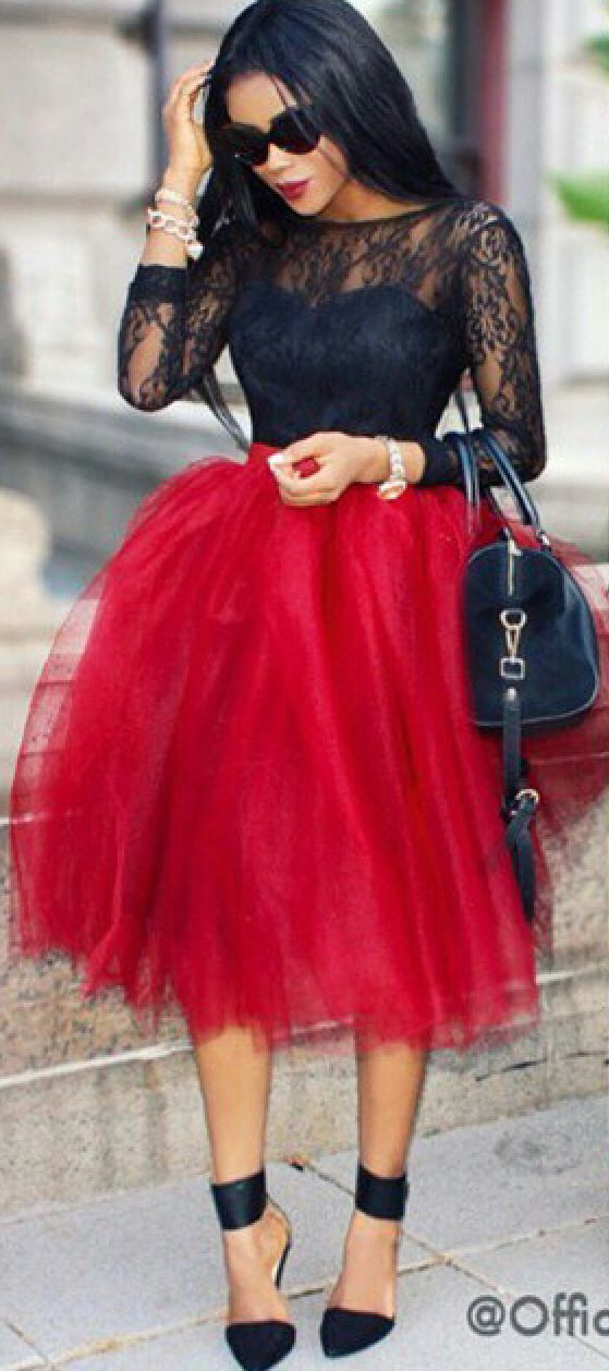 dc5c7d8a90 Image of: Red tulle skirt