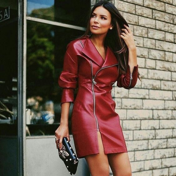Red veggie leather zippered dress