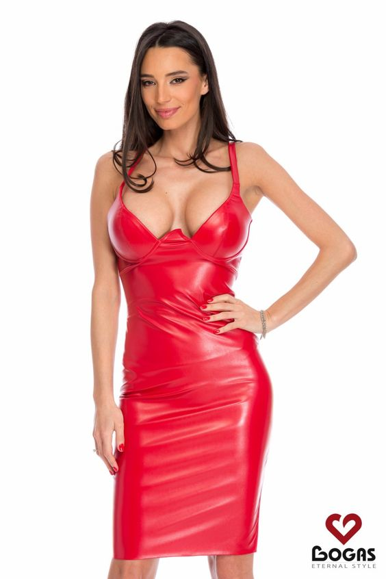 Red faux leather dress
