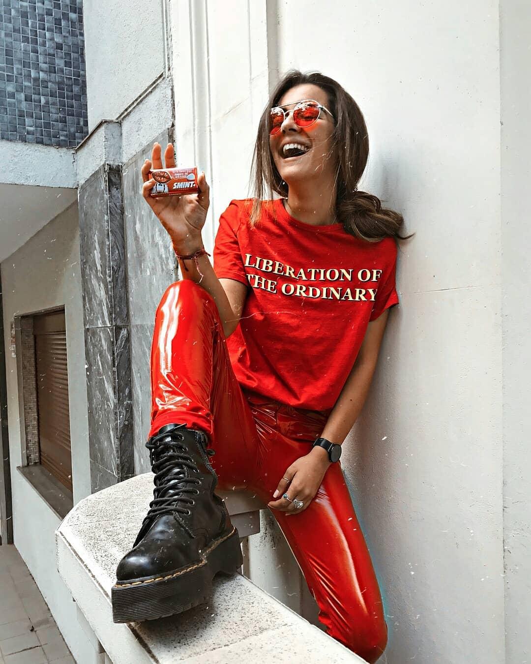 Red vinyl pants