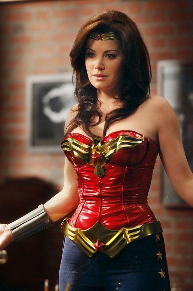 Red vinyl Wonder Woman corset