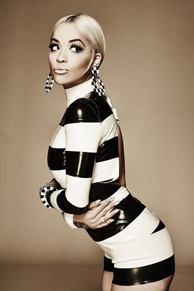 Rita Ora striped latex dress
