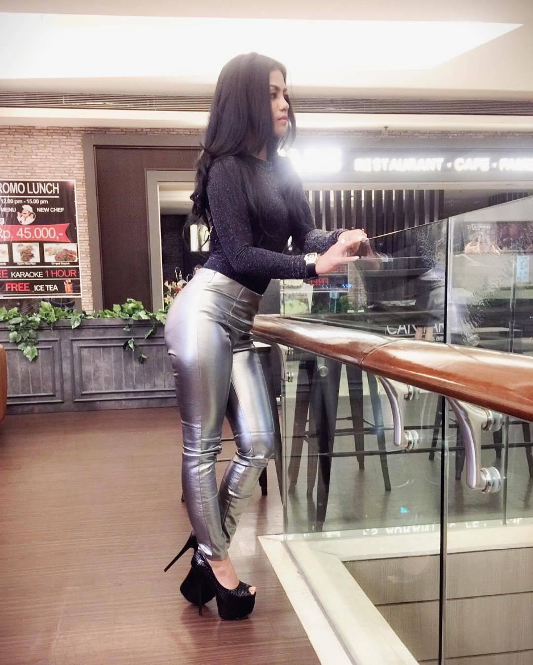 Silver PVC pants