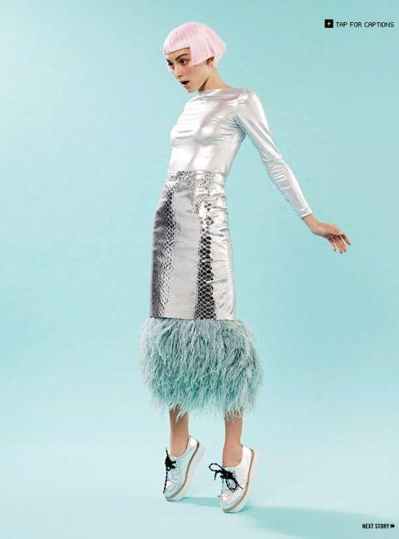 Silver snakeskin skirt