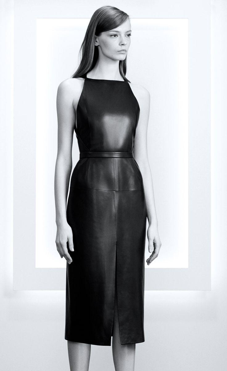 Αποτέλεσμα εικόνας για leather black simple dress