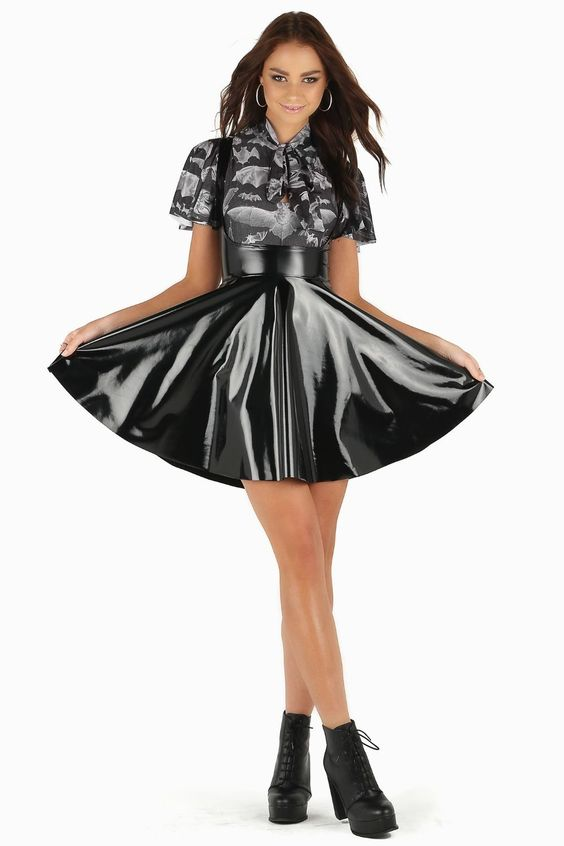 Stretch black vinyl fabric