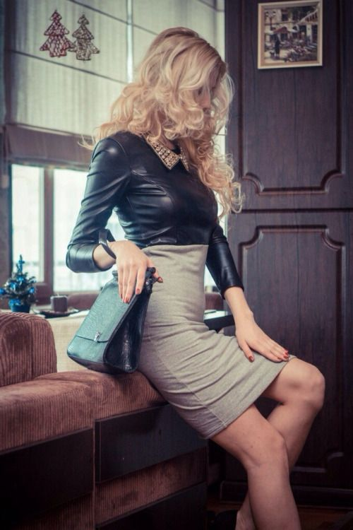 Stretchy faux leather blouse
