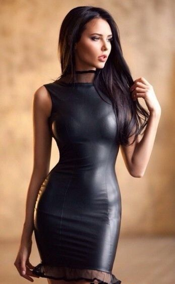 Stretch faux leather dress.