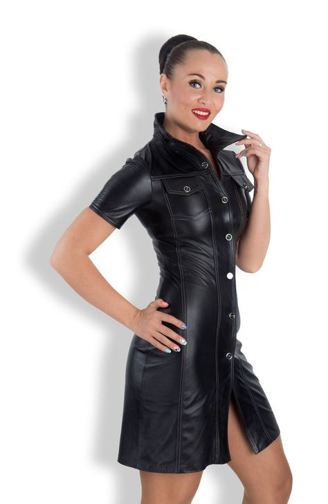 Button up faux leather dress