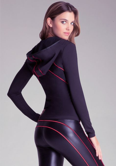 Stretch leather with red ribbing